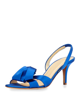 madison satin slingback sandal, cobalt