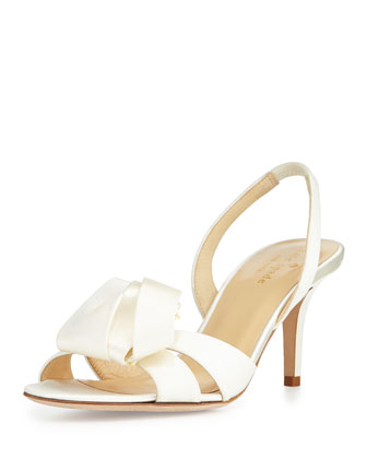 madison satin slingback sandal, ivory