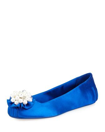 fanna satin flat slipper, cobalt