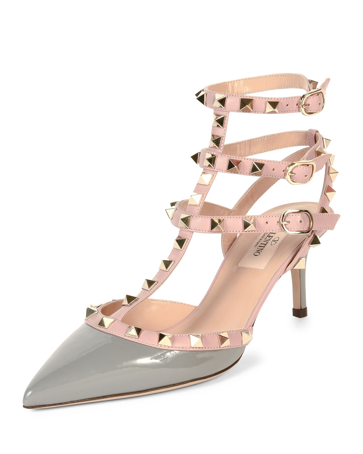 Rockstud Colorblock Leather Mid-Heel Sandal, Pebble, Size: 39B/9B - Valentino