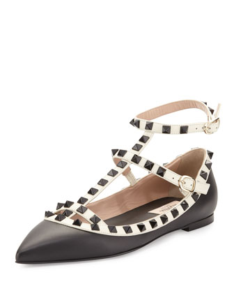 Rockstud Colorblock Leather Cage Flat, Black/Light Ivory