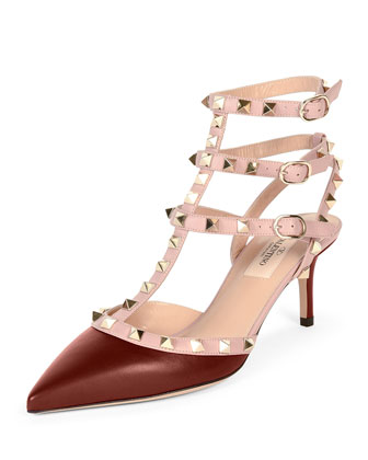 Rockstud Colorblock Leather Mid-Heel Sandal, Crimson