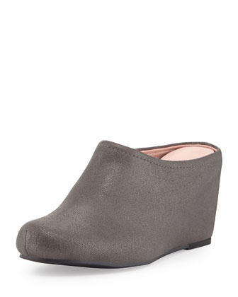 Boston Distressed Suede Mule, Pewter