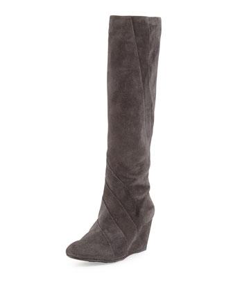 Kalo Suede Wedge Knee Boot, Gray