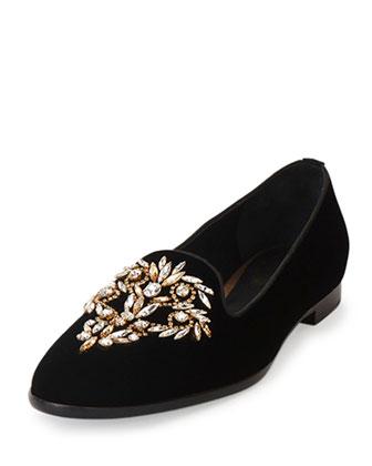 Crystal-Embellished Smoking Slipper, Black