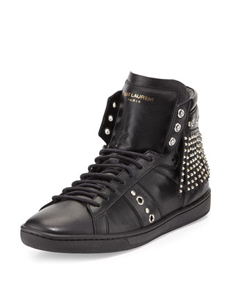 Studded-Fringe Leather High-Top Sneaker, Black