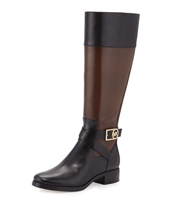 Bryce Colorblock Leather Boot, Black/Mocha