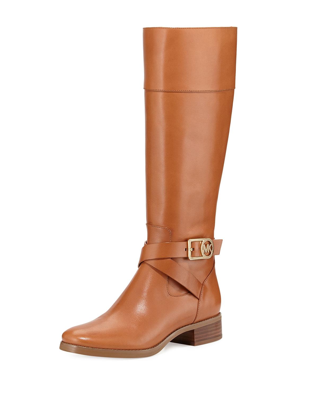 Bryce Leather Riding Boot, Luggage, Size: 39.5B/9.5B - MICHAEL Michael Kors