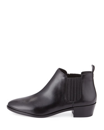 Shaw Leather Flat Bootie, Black