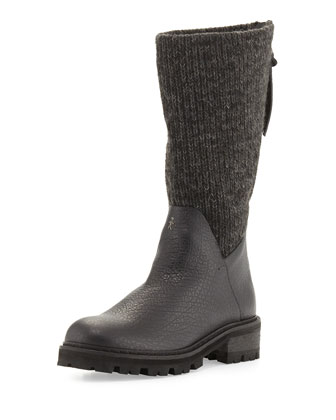 Knitted-Shaft Leather Knee Boot, Black/Carbon (Nero/Carbone)