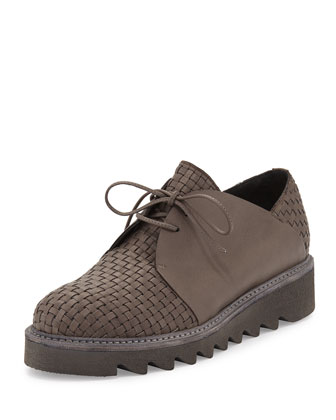 Woven Calf Leather Oxford, Gray
