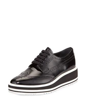 Polished Leather Platform Oxford, Black (Nero)