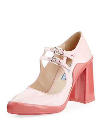 Double-Buckle Mary Jane Pump, Pink/Geranium (Hidea+Geranio)