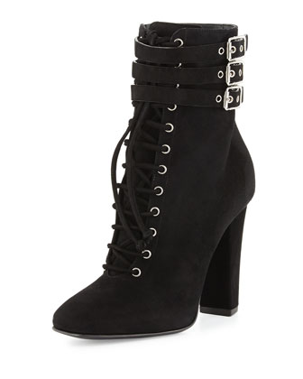 Suede Lace-Up High-Heel Bootie, Black (Nero)