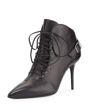 Lucrezia Lace-Up Ankle Bootie, Black (Nero)