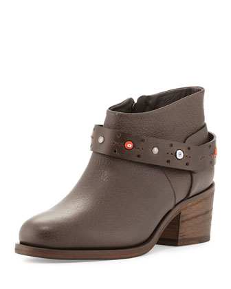 Beaded Ankle-Strap Bootie, Smog