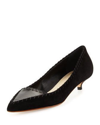 Suede Kitten-Heel Pump, Black (Nero)