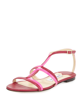 Magnes Leather Gladiator Sandal, Raspberry