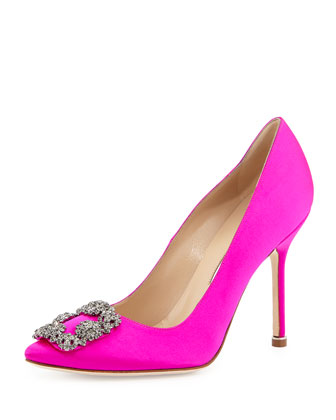 Hangisi Crystal-Buckle Satin Pump, Fuchsia