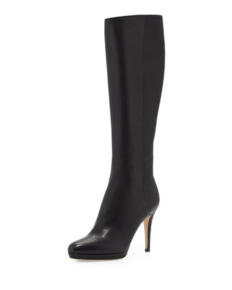 Glynn Leather Knee Boot, Black