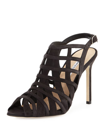 Dance Suede Caged Sandal, Charcoal