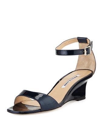 Valtassa Patent Demi-Wedge Sandal, Navy