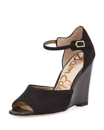 Raven Peep-Toe Wedge Pump, Black