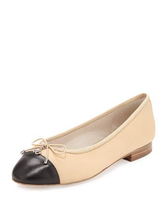 Sara Cap-Toe Ballerina Flat, Nude/Black