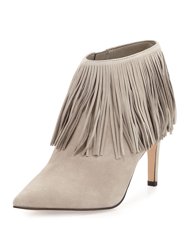 Kandice Fringe Ankle Boot, Winter Sky, Size: 37.5B/7.5B, Gray - Sam Edelman