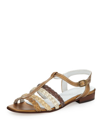 Kosmos Woven Leather Sandal, Bronze/Multi