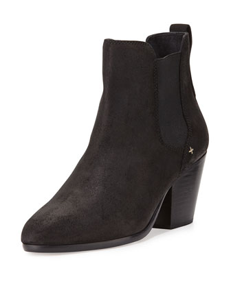 Devon Waxed Suede Bootie, Black