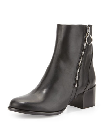 Avery Leather Side-Zip Boot, Black
