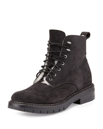 Cozen Suede Shearling Fur-Lined Boot, Asphalt