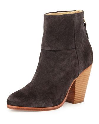 Classic Newbury Leather Ankle Boot, Asphalt