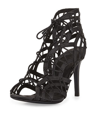 Leah Lattice Lace-Up Sandal, Black