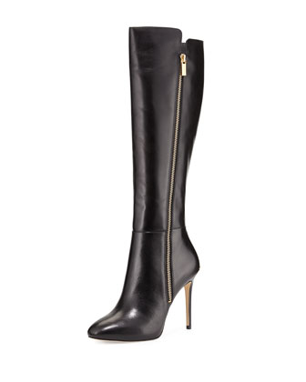 Clara Leather Knee Boot, Black