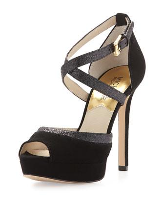 Ginny Suede Platform Sandal, Black
