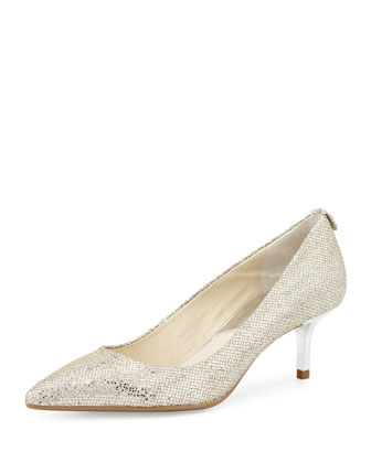 MK Flex Glitter-Fabric Pump, Silver
