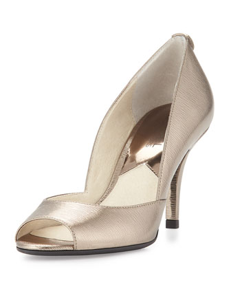 Natalie Metallic Open-Toe Pump, Nickel