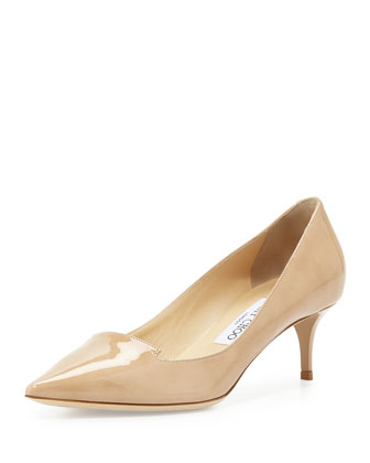 Allure Pointed Patent Loafer Pump, Nude