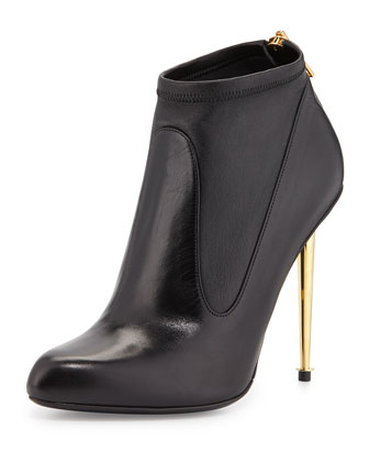 Stretch Leather Ankle Bootie, Black