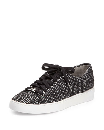 Keaton Tweed Low-Top Sneaker, Black/White