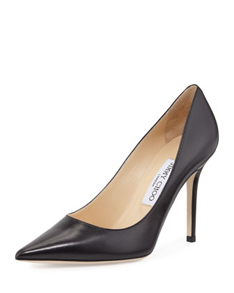 Abel Leather Pointy-Toe Pump, Black