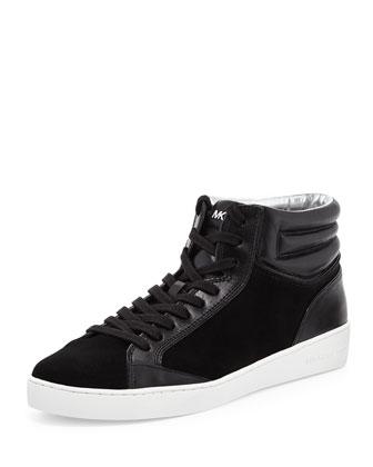Paige Sport Suede High-Top Sneaker, Black