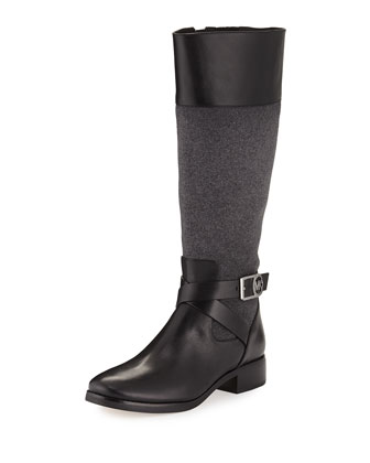 Bryce Flannel/Leather Knee Boot, Black
