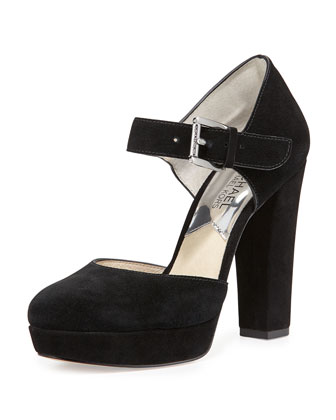 Flynn Suede Platform Mary Jane Pump, Black