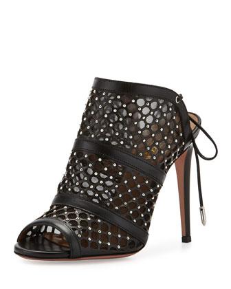 Blondie Studded Leather Sandal, Black