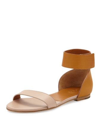 Gala Two-Tone Leather Sandal, Nude/Cognac
