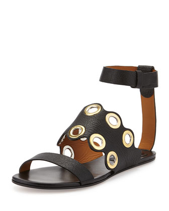 Grommet Leather Flat Sandal, Black