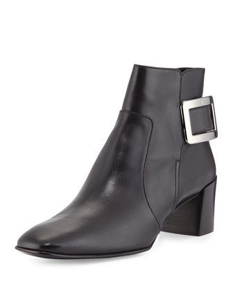 Polly Leather Side-Buckle Ankle Boot, Black